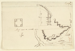 Plan of the Barabar Caves and an elevation of the entrance to the Lomas Rishi Cave, Gaya (Bihar)